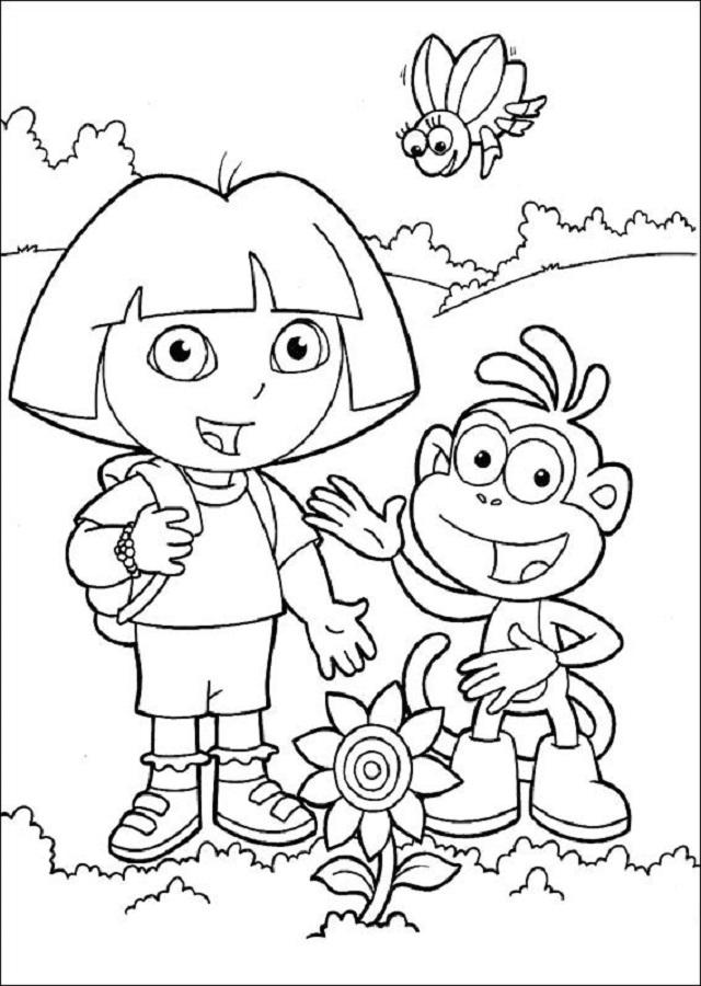 Dora-botas - Dibujos para colorear