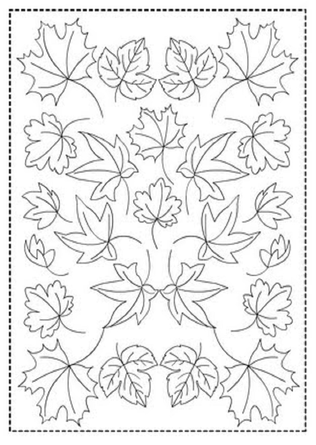 cuadro dibujo de colorear hojas