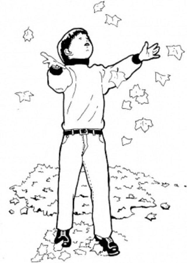niño lanzando hojas al aire para colorear
