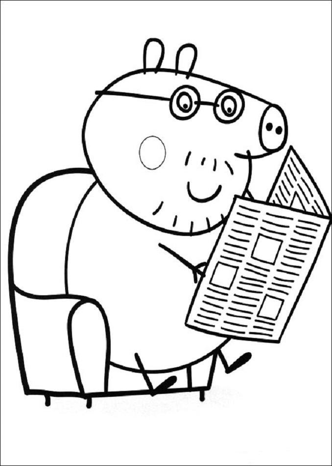 Papa pig leyendo el periodico