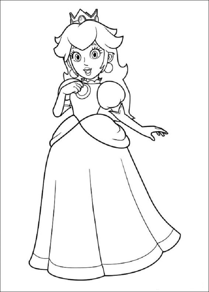 peach coloring pages - super mario bros dibujos para colorear