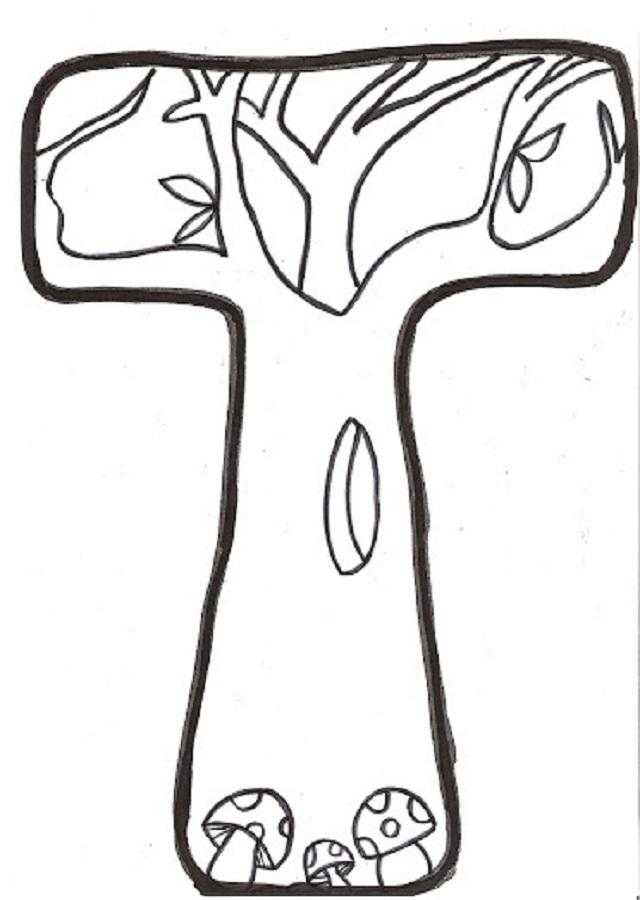 letra t para colorear de otoño