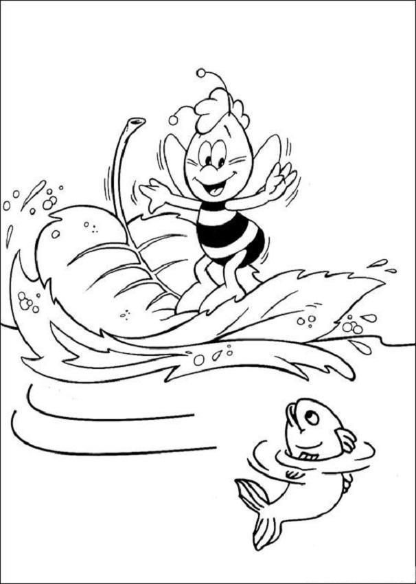 Willy haciendo surf en una hoja, abeja maya para colorear - Dibujos ...