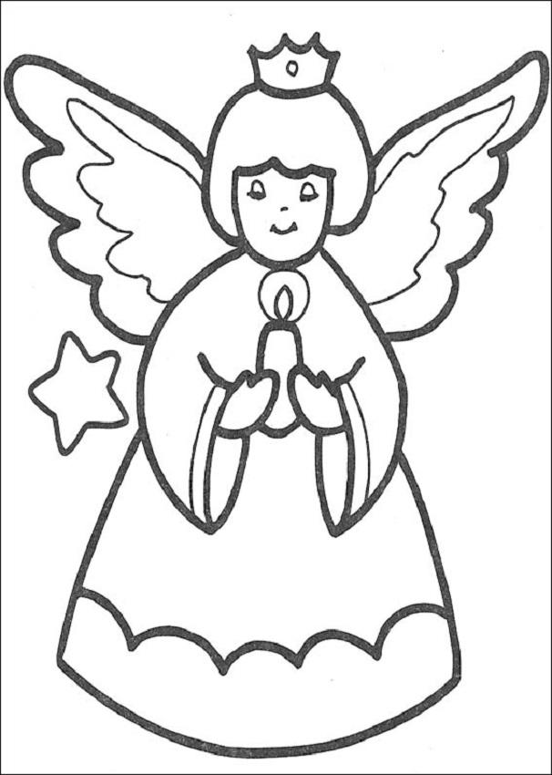 angel de navidad para colorear
