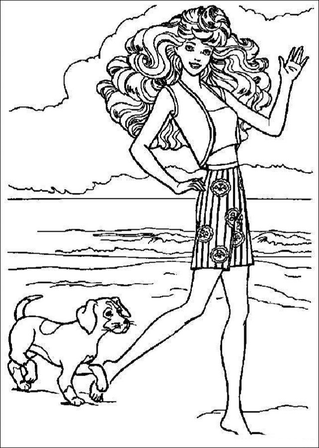imagen para colorear Barbie paseando por la playa