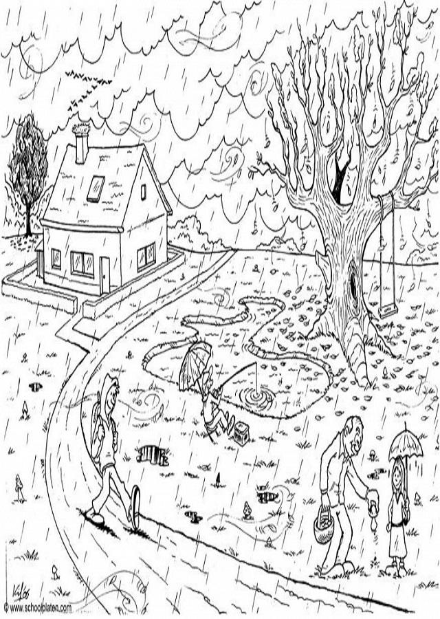 dibujo-otoño-lluvioso - Dibujos para colorear