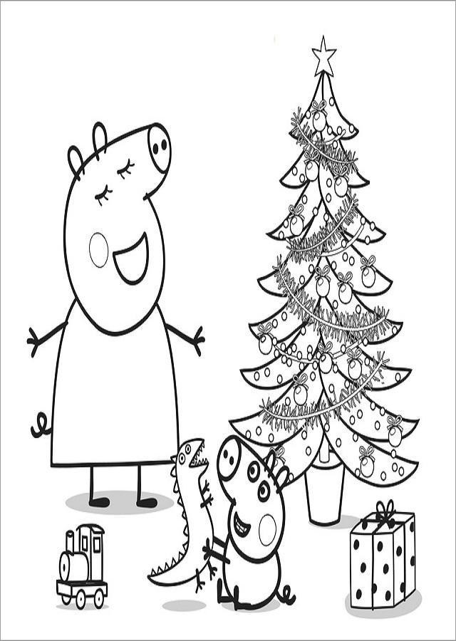 dibujo-para-colorear-de-peppa-pig-navidad