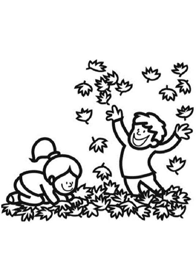 dibujo para colorear niños jugando con hojas otoño