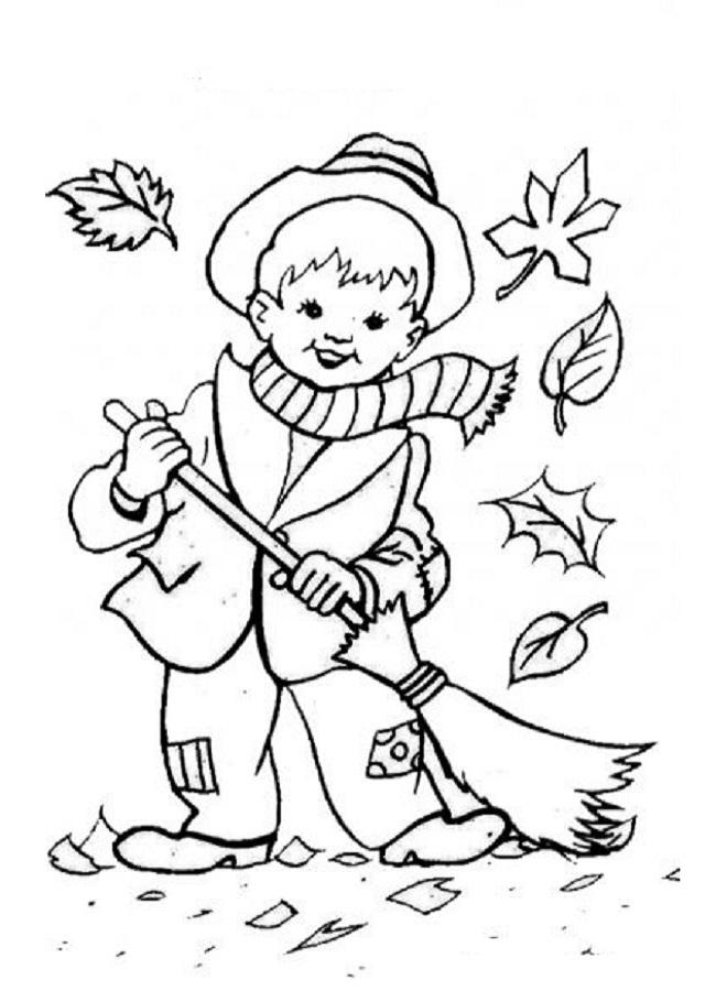 dibujo niño barriendo hojas para pintar