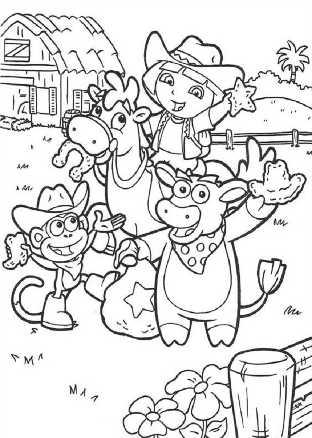 dora-la-exploradora-granja - Dibujos para colorear