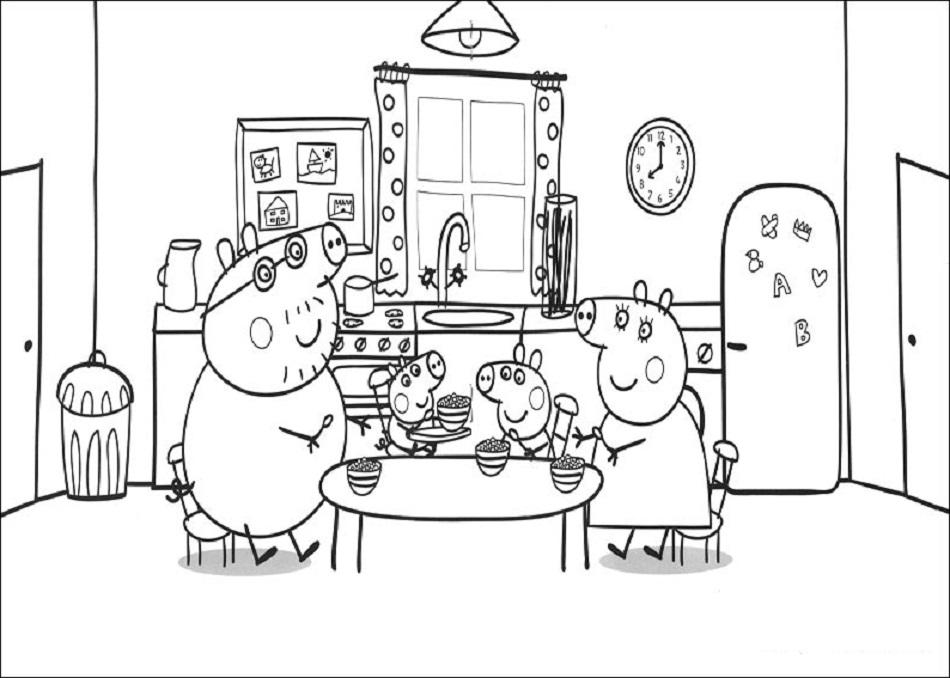 familia pig desayunando