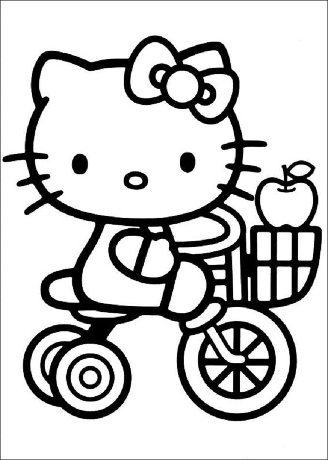 hello-kitty en triciclo para colorear - Dibujos para colorear