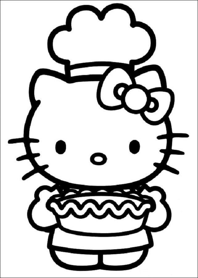 hello-kitty cocinando tarta para colorear