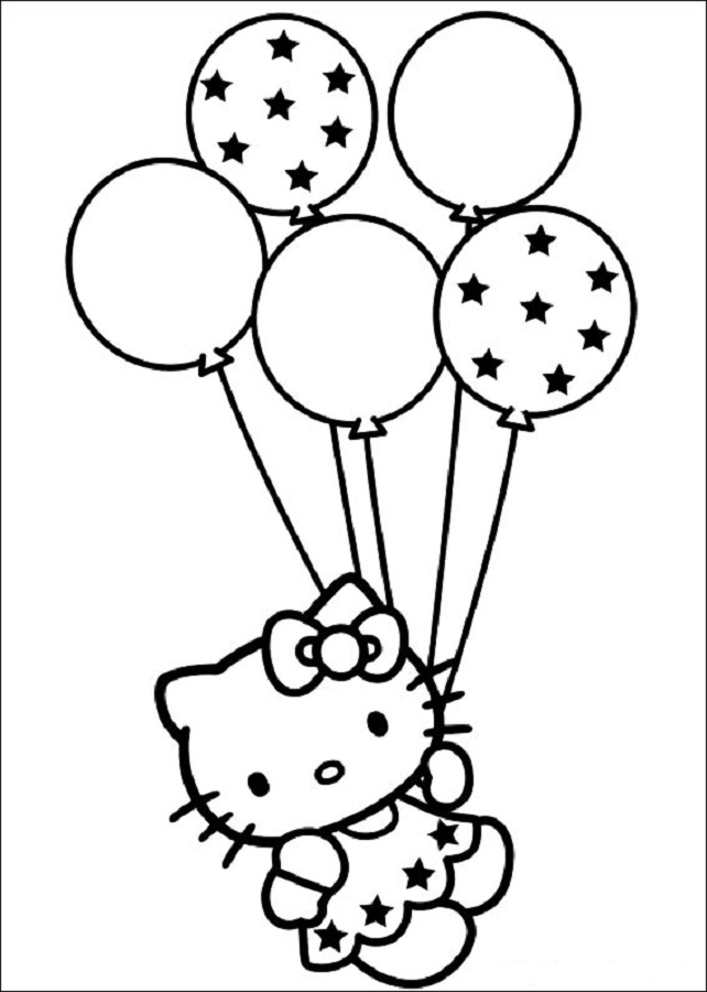 hello-kitty con unos globos, para imprimir