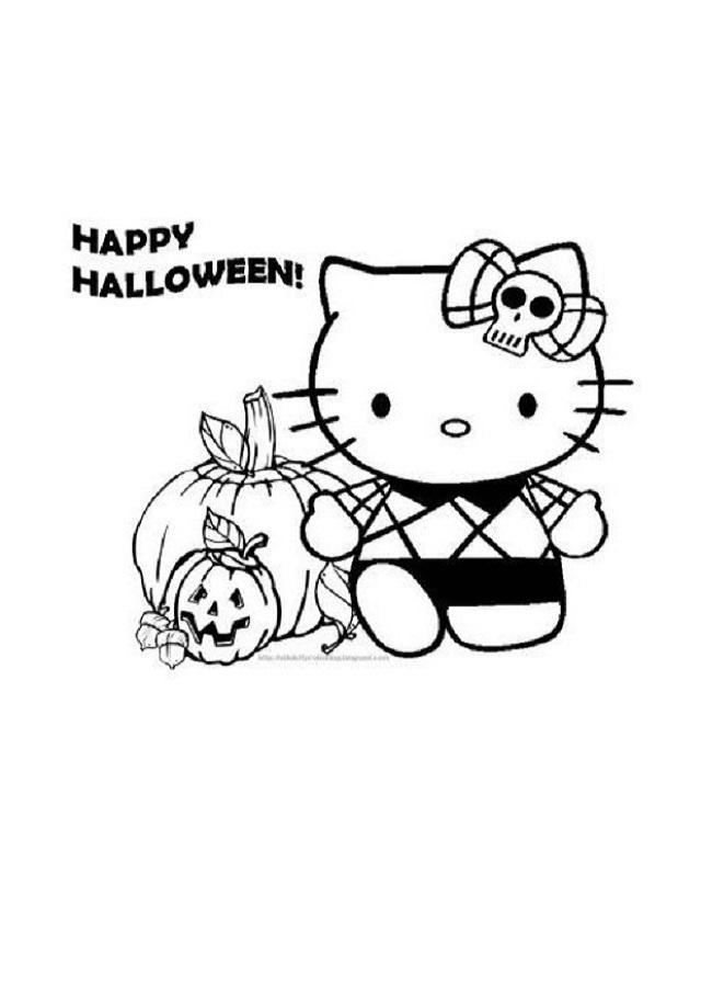 hello-kitty-en-halloween - Dibujos para colorear