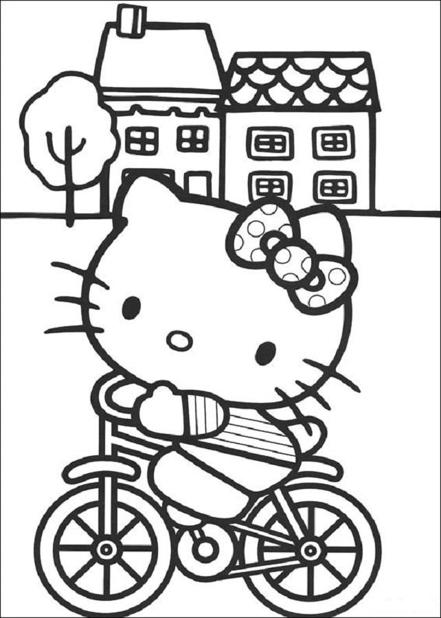 hello kitty en su bicicleta