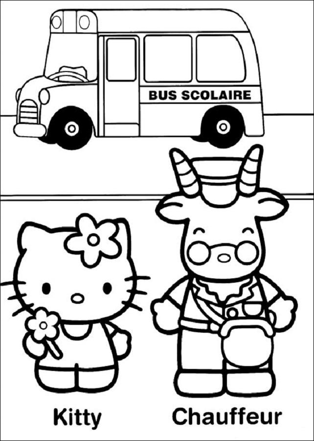 hello kitty y chauffeur en el autobus escolar