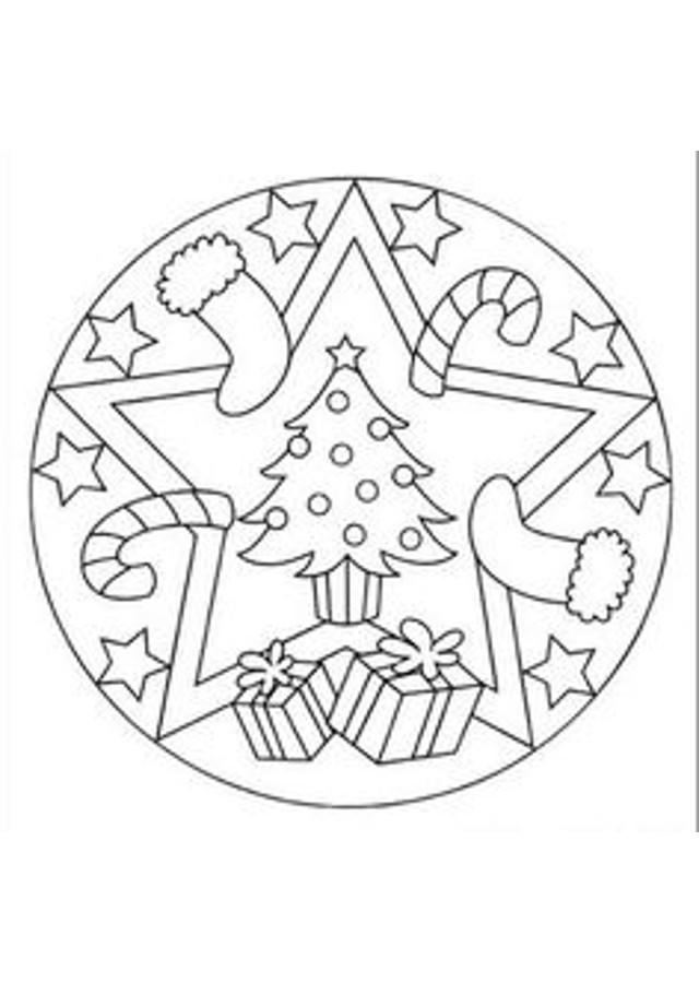 Mandalas navidad para pintar e imprimir