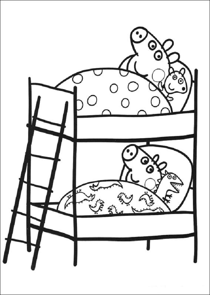 peppa pig y george pig durmiendo en su litera