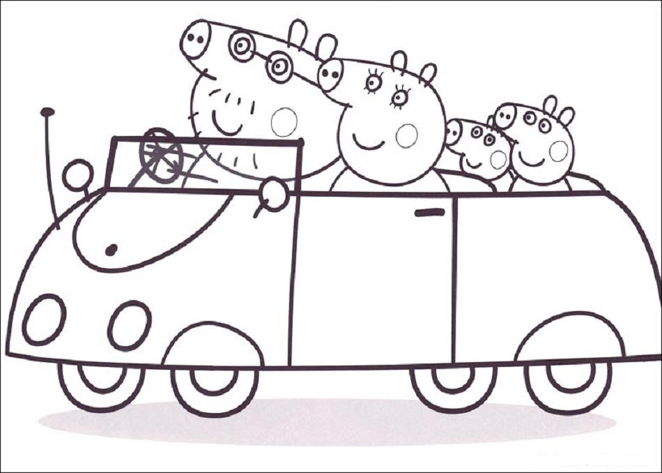 peppa pig y su familia en el coche