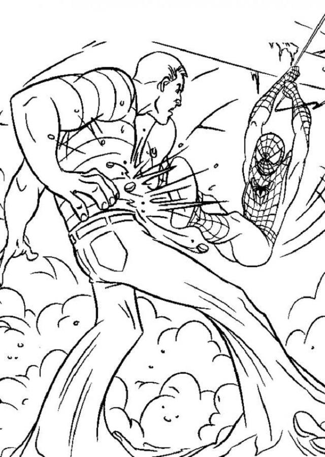 imagen para colorear spiderman luchando con hombre arena