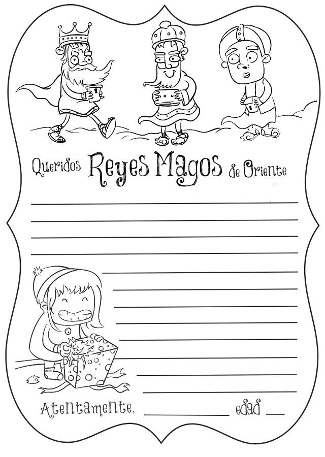 Carta Reyes Magos Navidad Dibujos Para Colorear