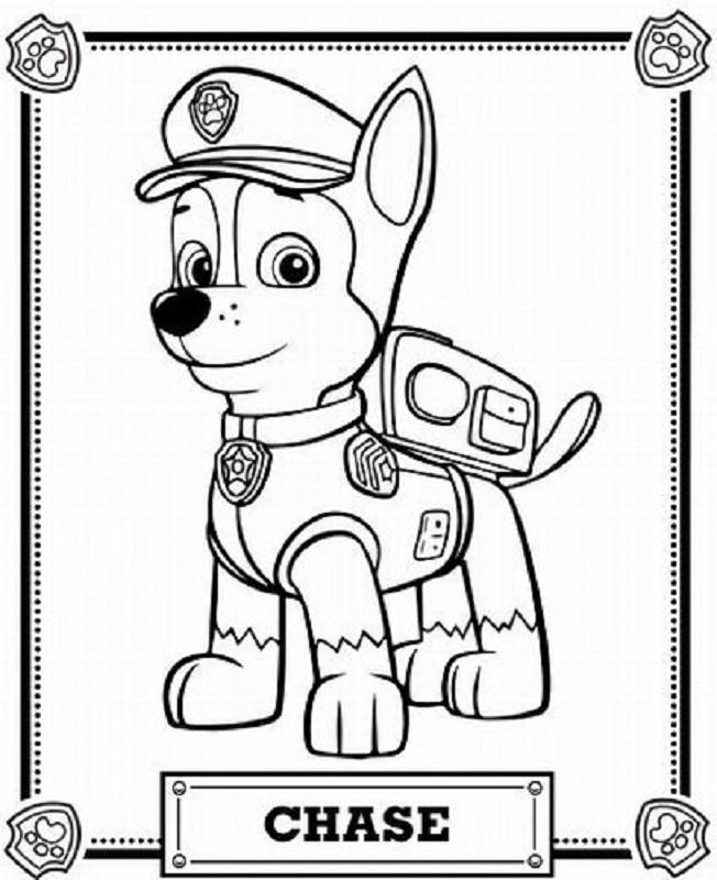 Chase patrulla canina policia para colorear