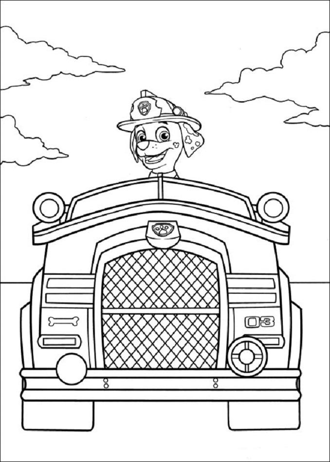 Marshall en su camion de bomberos, la patrulla canina