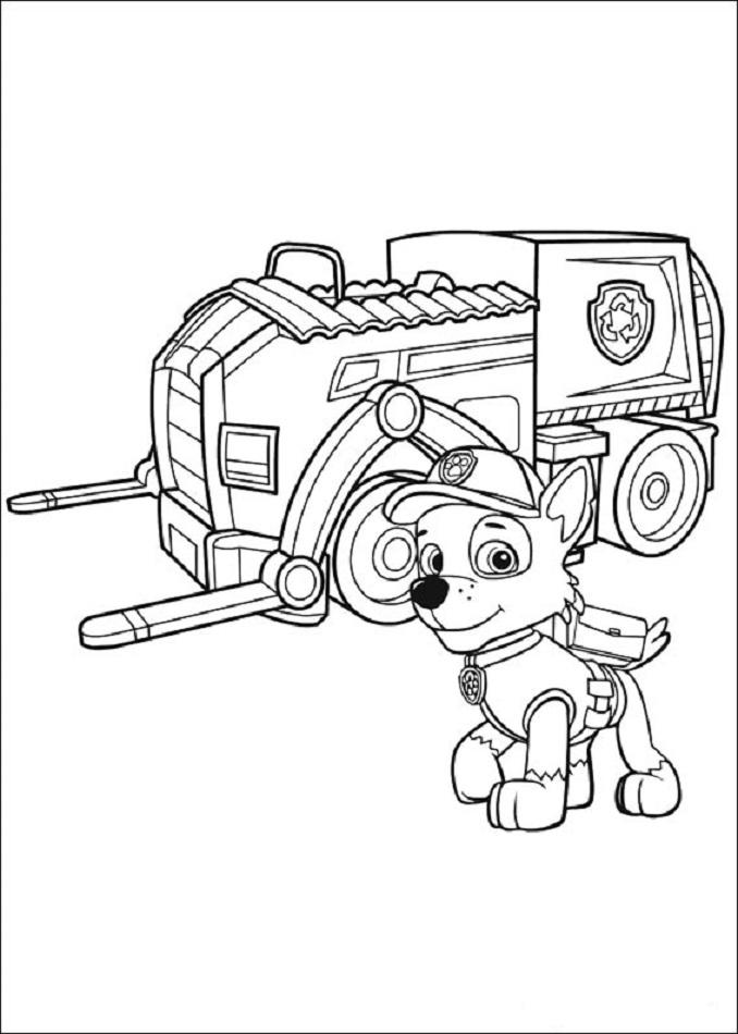 Rocky con su camion para reciclar la patrulla canina