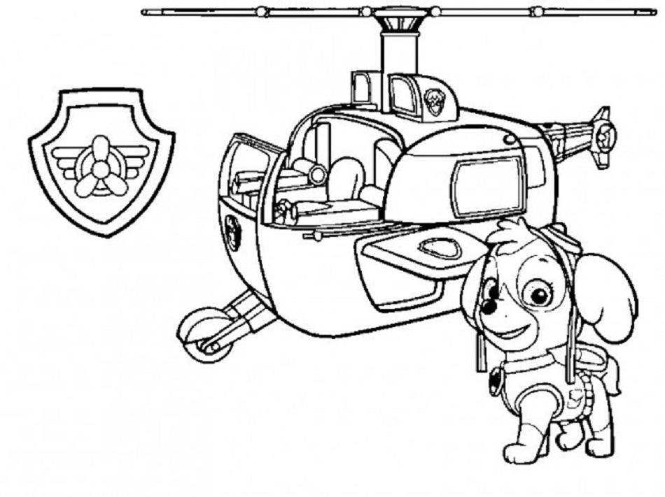 Skye y su helicoptero-dibujos-para-imprimir-patrulla-canina