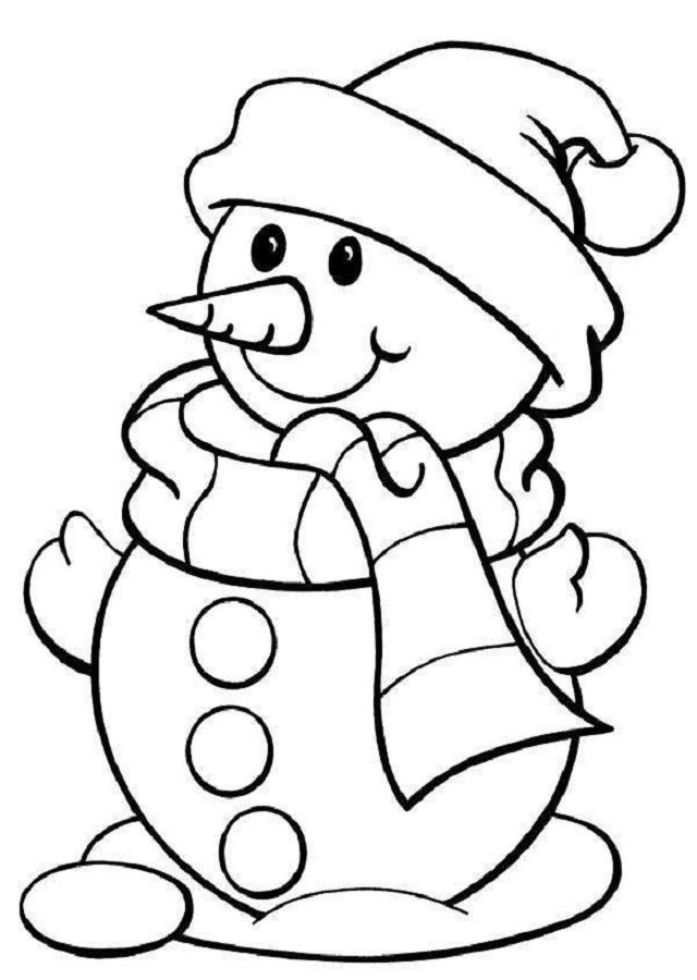 dibujo para colorear muñeco de nieve navidad