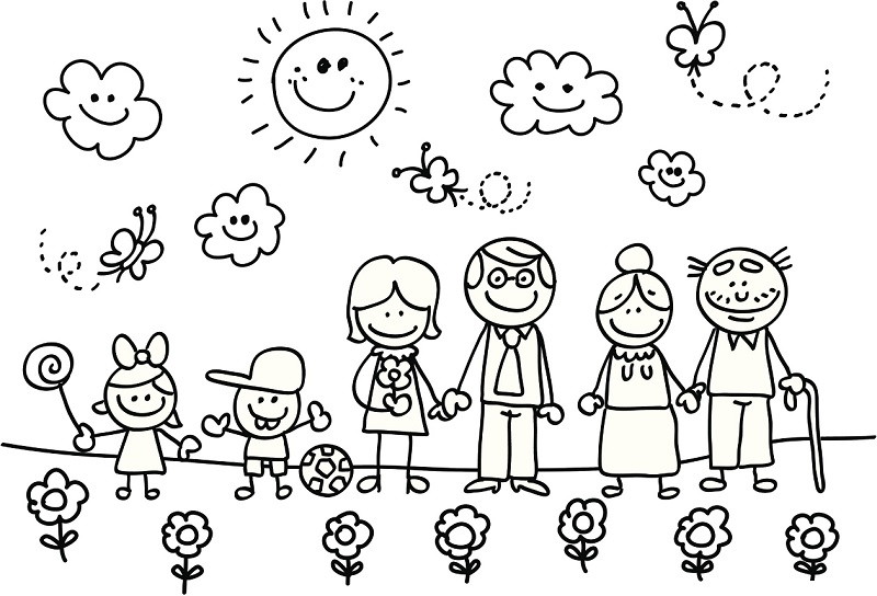 familia en primavera para colorear - Dibujos para colorear