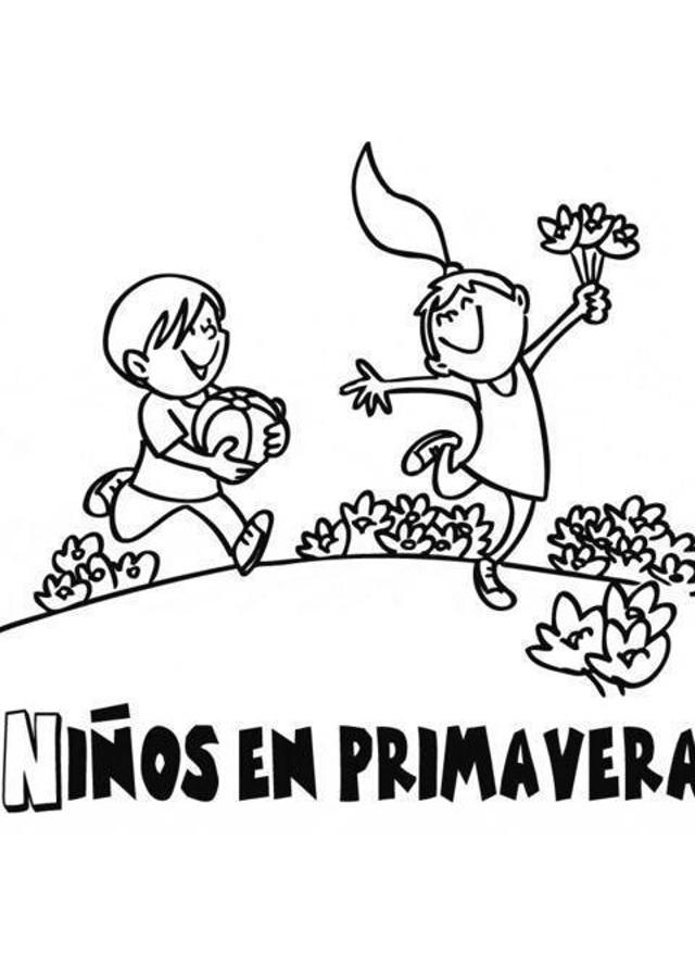 ninos-jugando-en-primavera - Dibujos para colorear