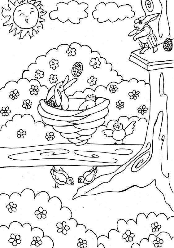 paisaje de primavera - Dibujos para colorear