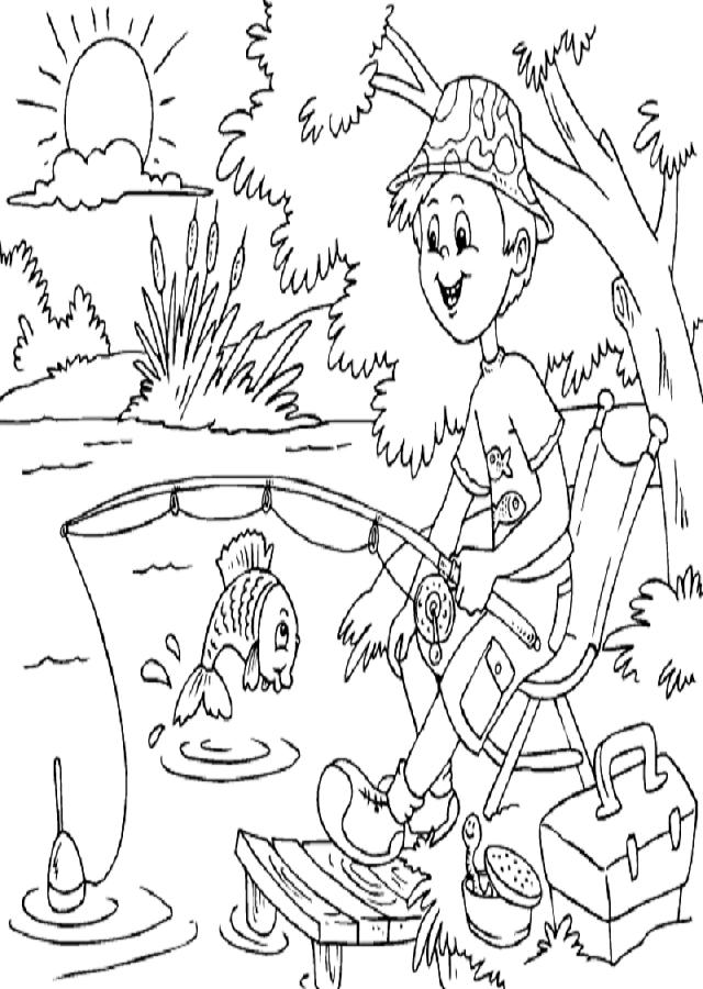 pescando-en-primavera - Dibujos para colorear