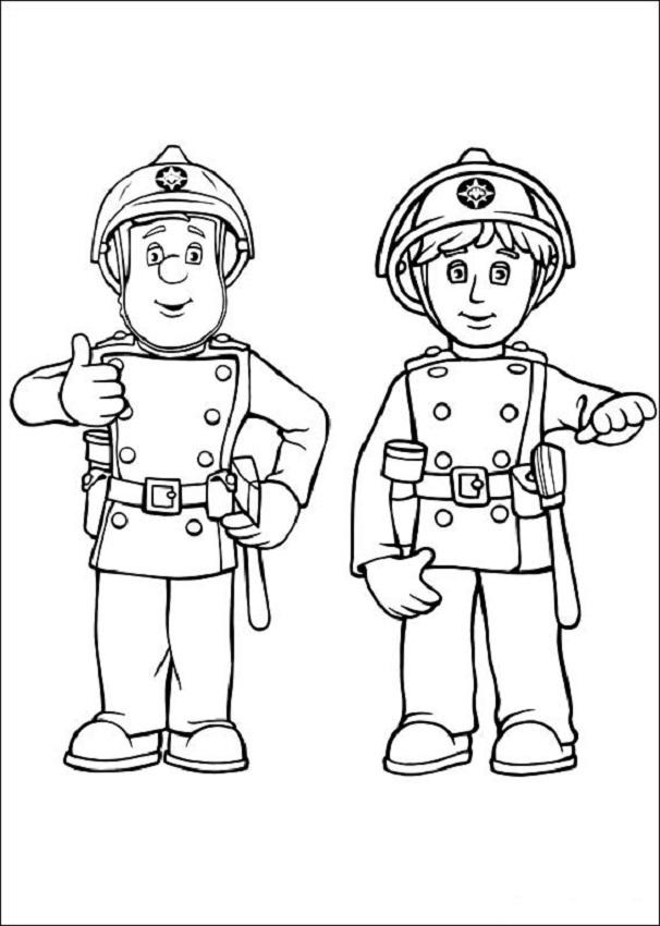 Dibujo para colorear Sam el bombero - Dibujos para colorear