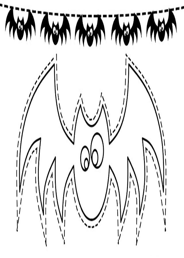 guirnalda murciélago para colorear