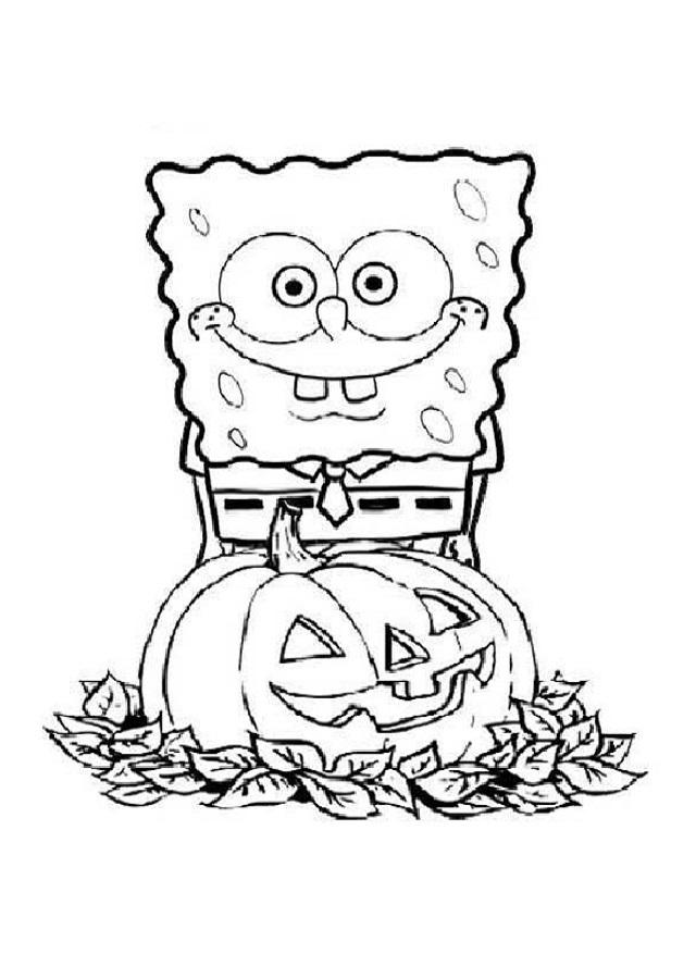 bob esponja para colorear halloween