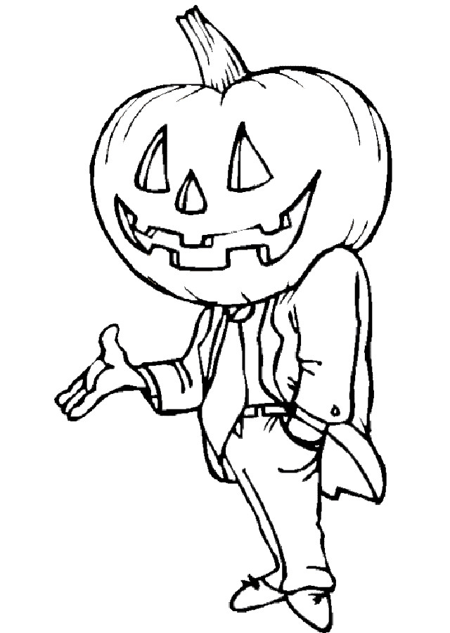 dibujo hombre con cabeza de calabaza para colorear
