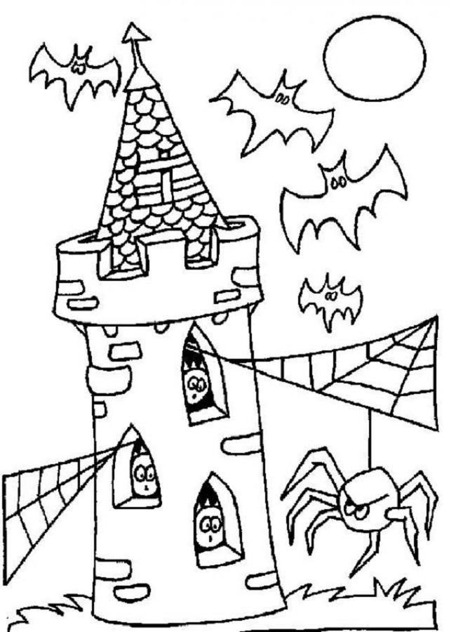 dibujo para colorear castillo halloween