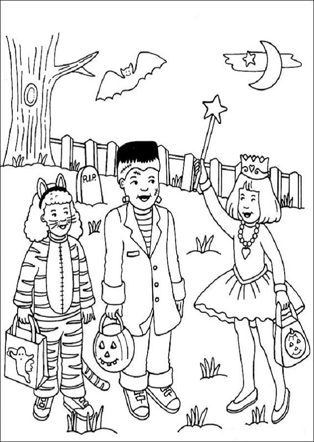 dibujo para colorear niños disfrazados de haloween