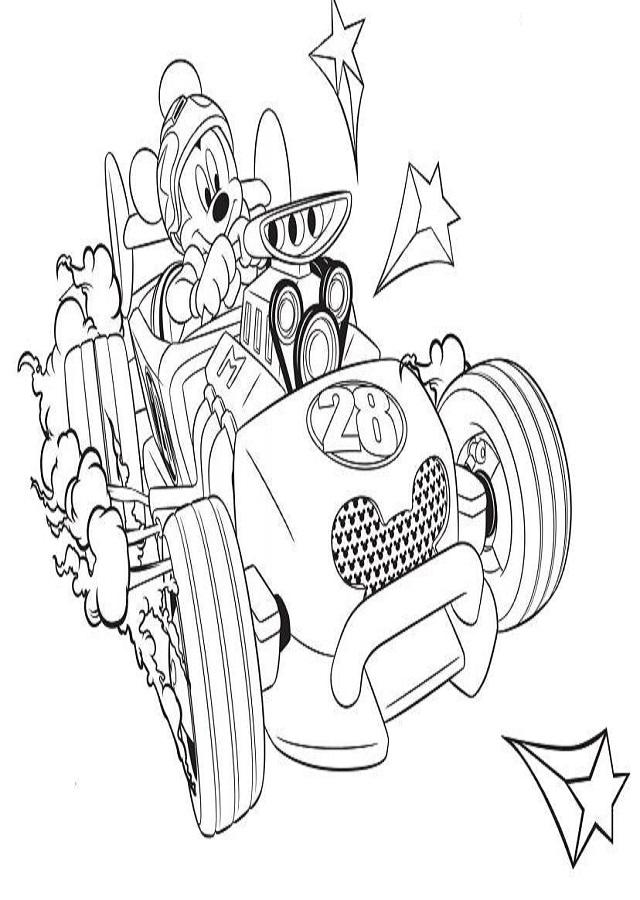 dibujo mickey para pintar coche de carreras