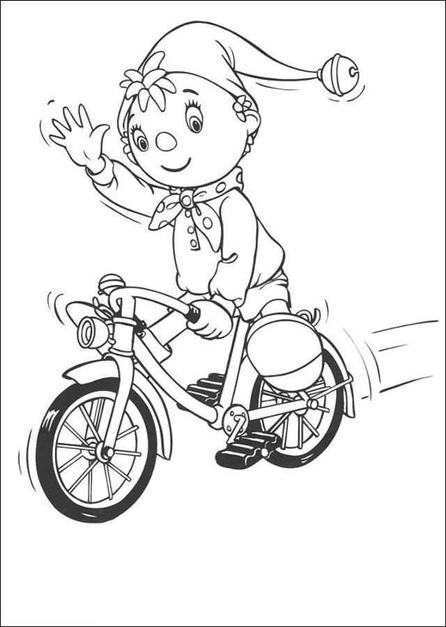 noddy-montando-en-bicicleta-para-pintar - Dibujos para colorear