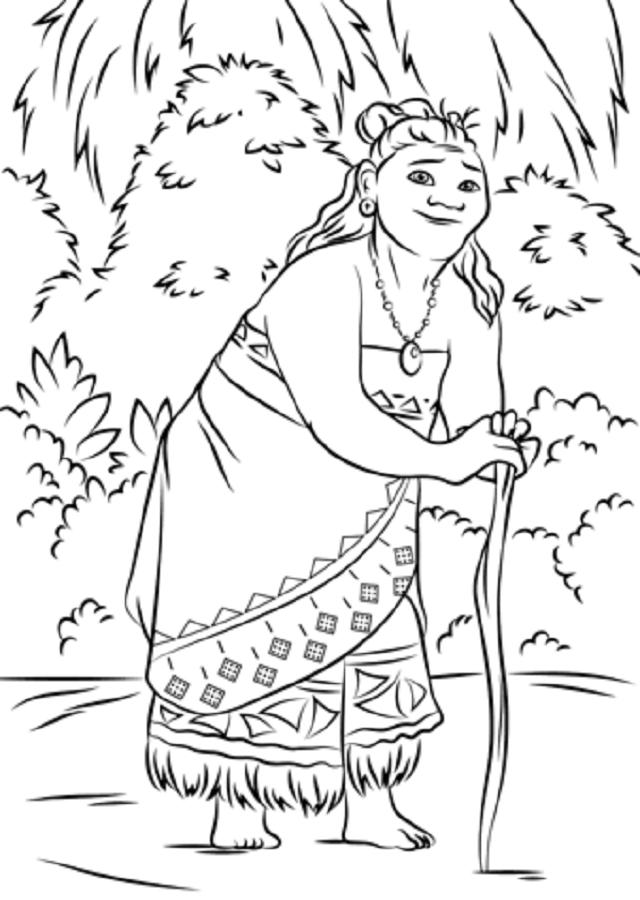 dibujo para colorear de Tala la abuela de Moana