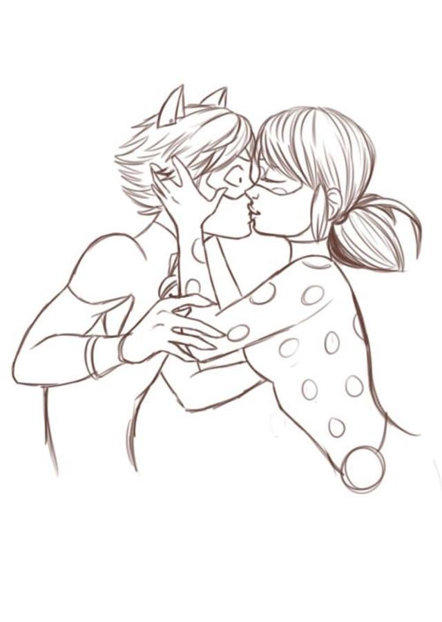 dibujo para colorear Ladybug besando a catnoir