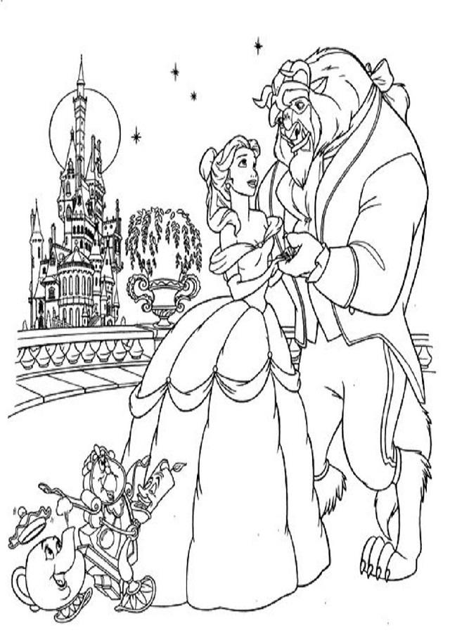 dibujo para colorear la Bella y la Bestia con los personajes principales de la pelicula
