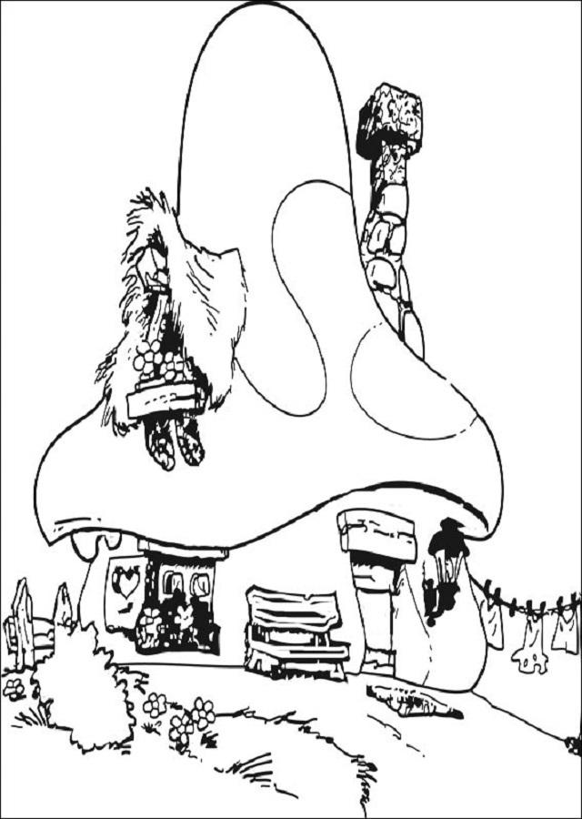 dibujo para colorear casa donde viven los pitufos