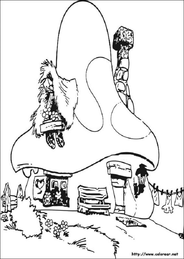dibujo para colorear casa pitufos - Dibujos para colorear