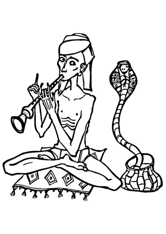 encantador de serpientes con una cobra - Dibujos para colorear