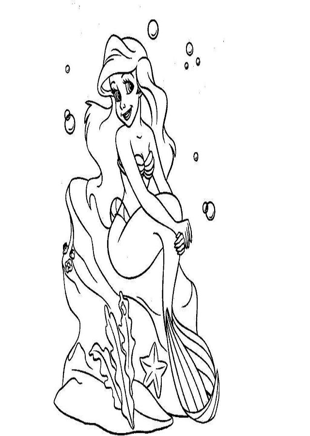 imagen para colorear ariel de sirena